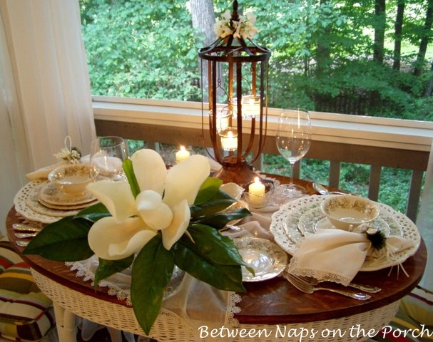 Candlelight and Magnolias Tablescape