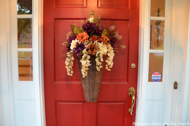 Decorate Front Door with an Autumn Fall Floral Basket
