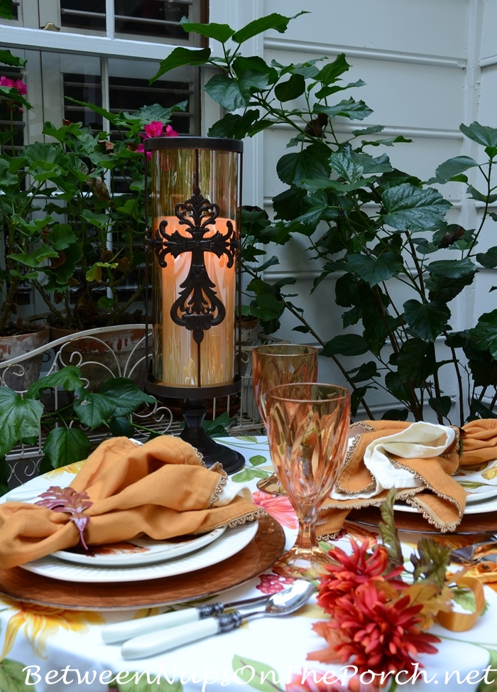 Fall Tablescape for Two on the Deck