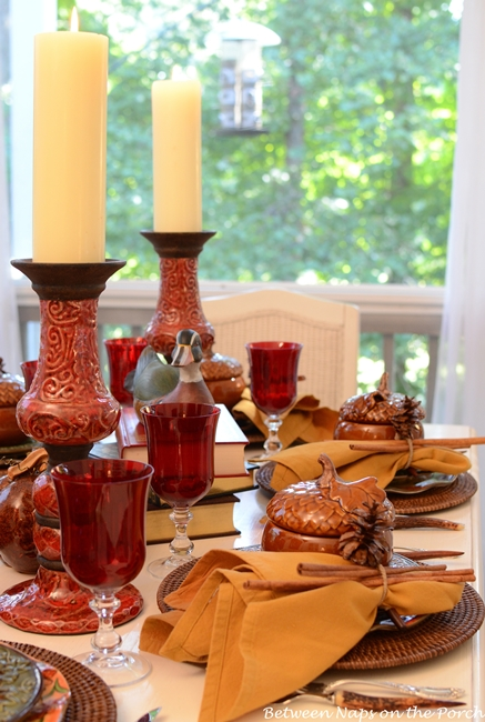 Fall Tablescape on the Porch (Between Naps on the Porch