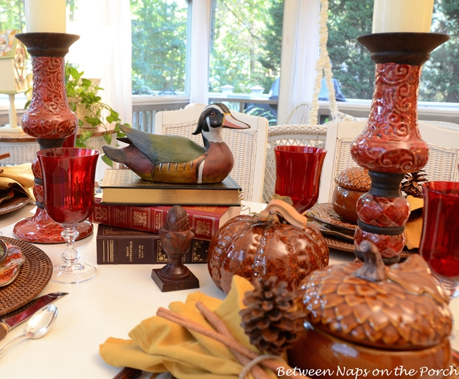 Fall Tablescape on the Porch (Between Naps on the Porch)