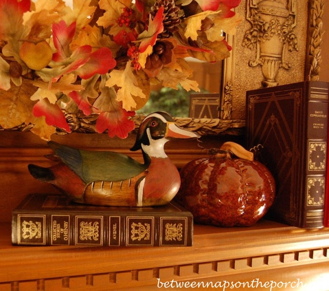 mantel decorated for fall - Decorating For Autumn