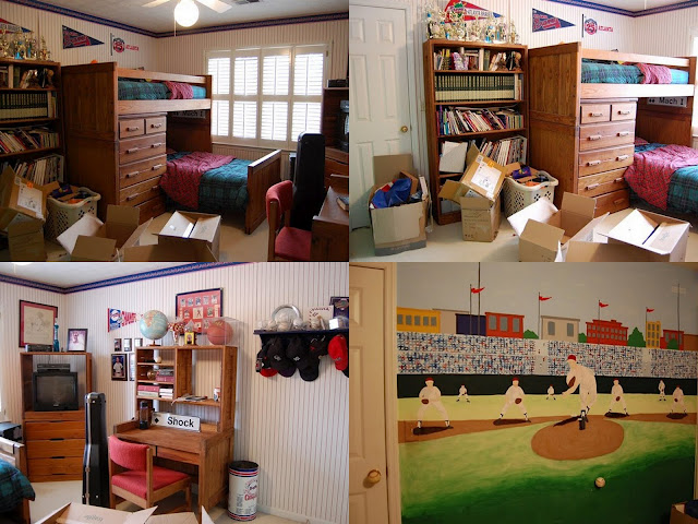 Boy's Bedroom Decorated in a Baseball Theme