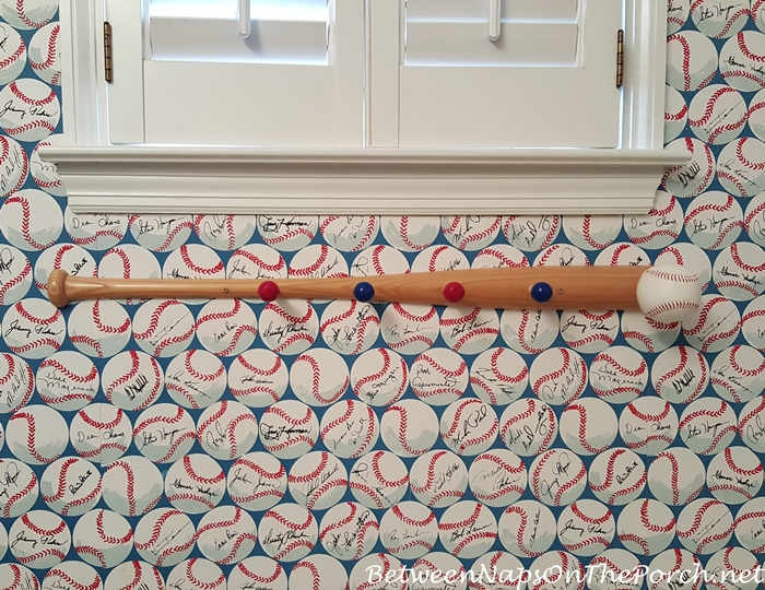Baseball Themed Towel Rack in Boy's Bathroom