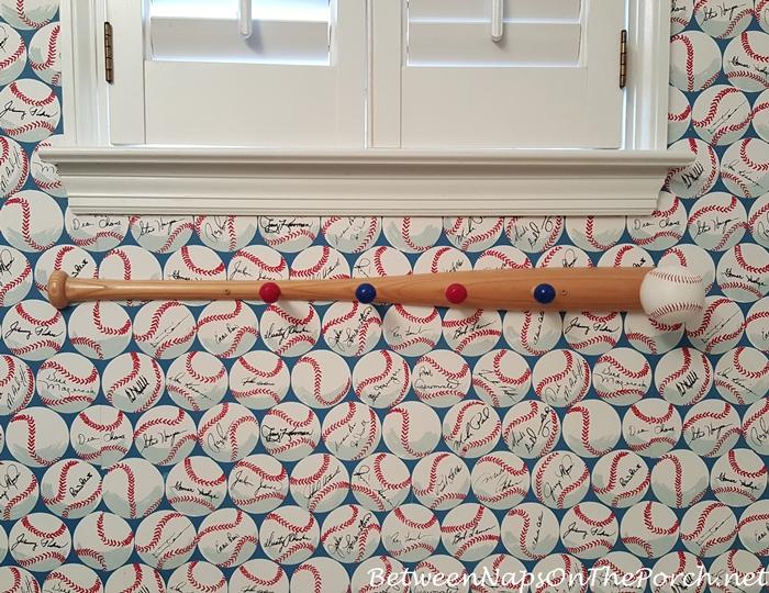 Baseball Themed Towel Rack in Boy's Bathroom