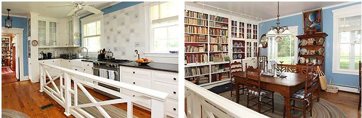 Kitchen and Breakfast room with library in historic Virginia Home