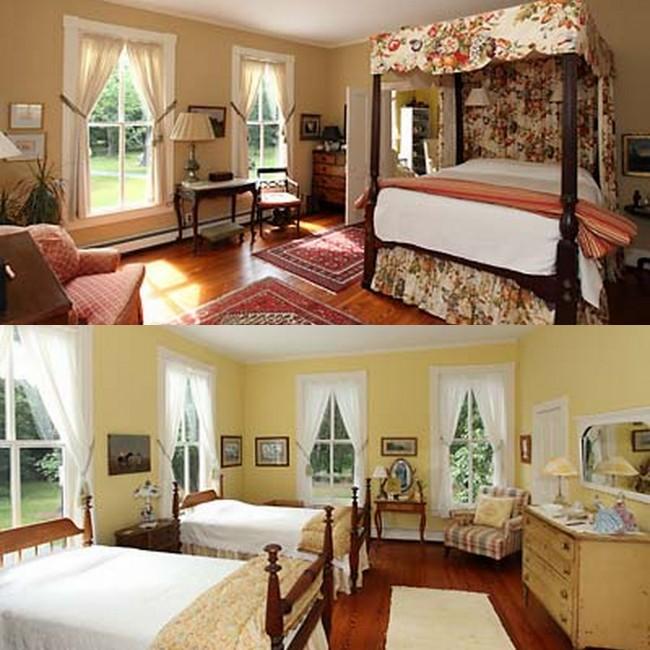 Bedrooms in historic Georgian Style home in Virginia