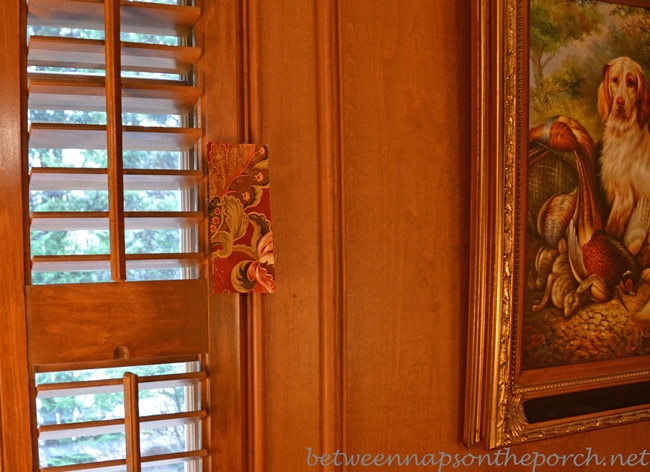 Country Curtains Hearthwood Floral Sample in Hunt Nature Themed Family Room with Judges Paneling_wm