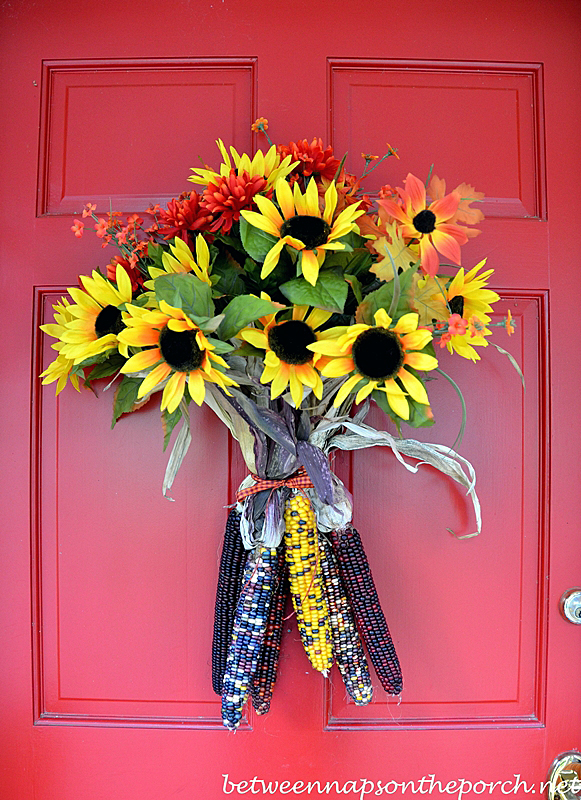 Easy-Fall-Door-Decoration with Sunflowers and Indian corn & A Fall Door Arrangement You Can Make in 5 Minutes (or less)