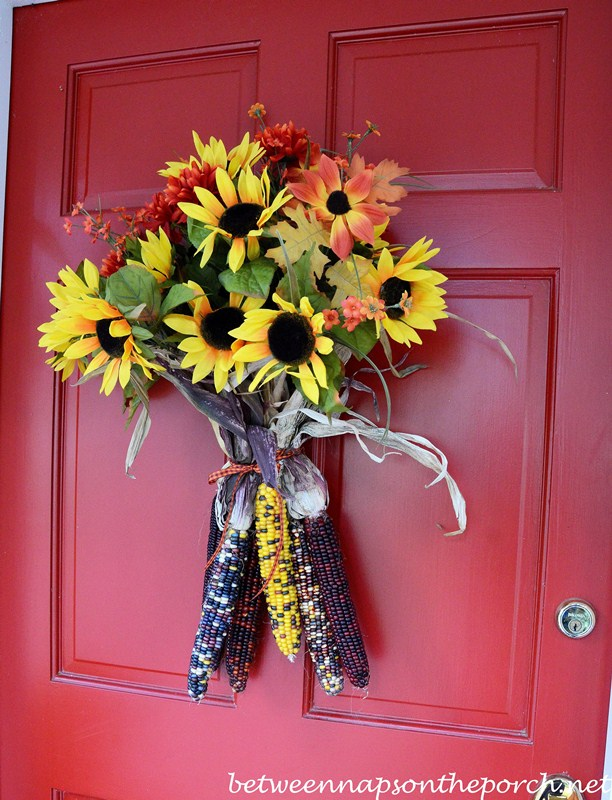 Easy Fall Floral Door Decoration with Indian Corn