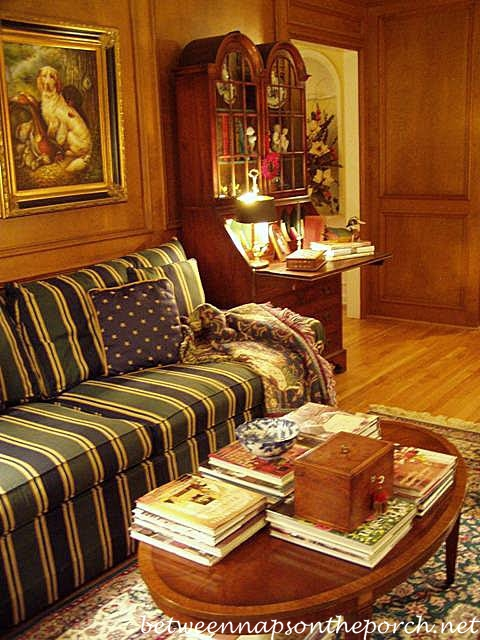 English Country Family Room with HuntWoodland Theme and Judges Paneling