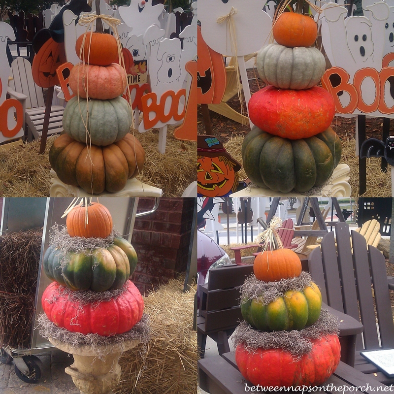 Superb Pumpkin Topiary Ideas Part - 10: Fall Porch Decorated With Pumpkin Topiaries