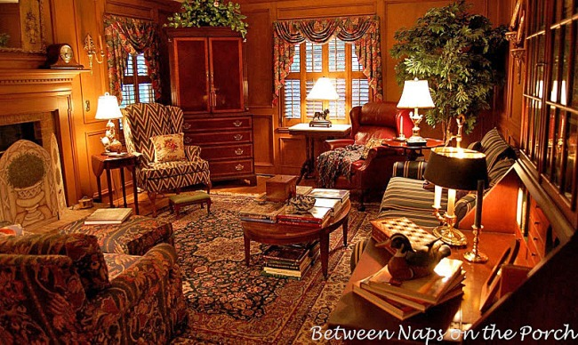 English Country Family Room with Hunt/Woodland Theme and Judges Paneling