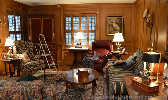 Family Room with English Country Hunt/Woodland Theme and Judges Paneling
