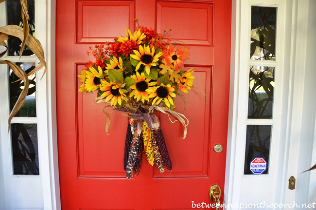 A fall door arrangement you can make in 5 minutes or less for Front door decoration indian style