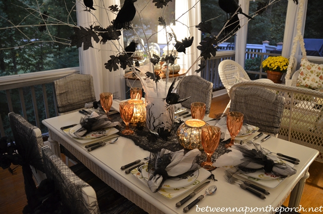 Halloween Table Setting with Crow or Raven Centerpiece