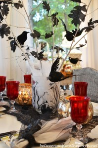 Halloween Tablescape with Crow Tree Centerpiece 13