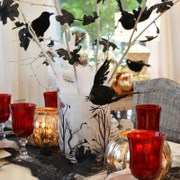 Halloween Tablescape with a Crow Tree Centerpiece