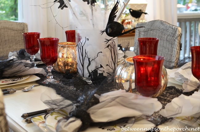 Halloween Tablescape with Crow Tree Centerpiece