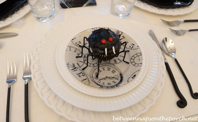 Halloween Tablescape with Spider Cupcakes, Clock Plates & a Witch's Hat Centerpiece 10
