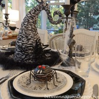 Halloween Tablescape with Spider Cupcakes