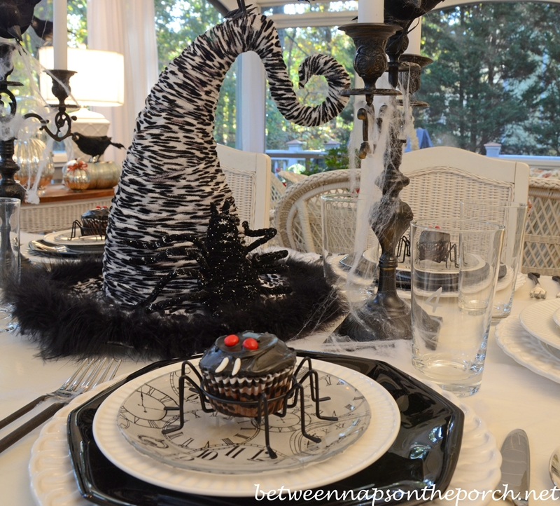 Halloween Table Setting Tablescape With Spider Cupcakes