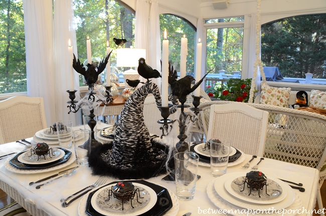 Halloween Tablescape with Spider Cupcakes, Clock Plates & a Witch's Hat Centerpiece