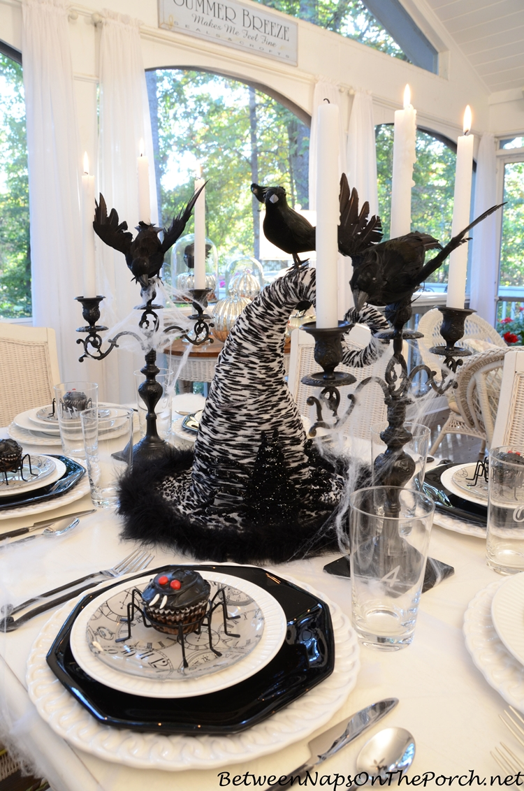 Halloween Tablescape with Spider Cupcakes, Clock Plates & a Witch's Hat Centerpiece_wm
