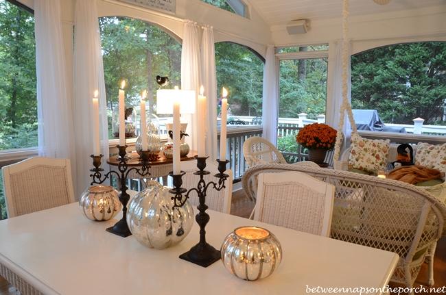 Mercury Glass Pumpkins and Pumpkin Candleholders for Halloween Decor
