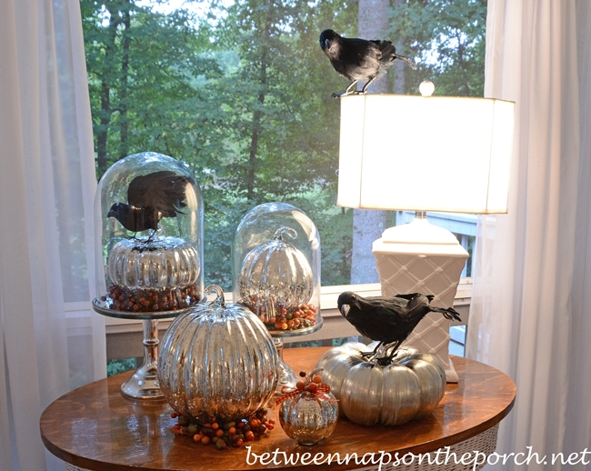 Mercury Glass Pumpkins and Crows for Halloween Decor