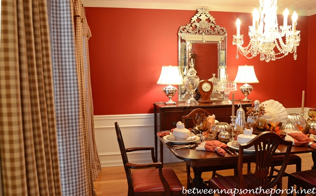Check Curtains Draperies with French Pleats and Grosgrain Trim