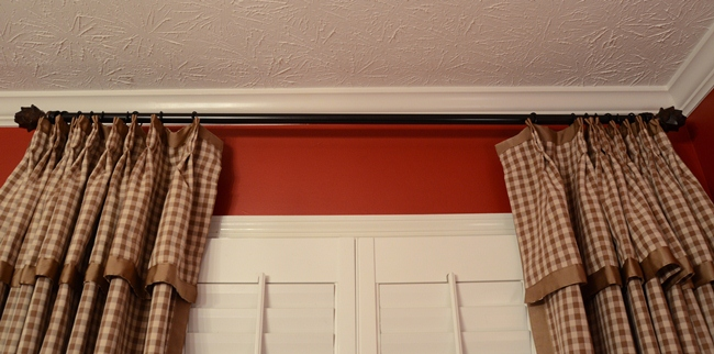 Check Curtains with French Pleats