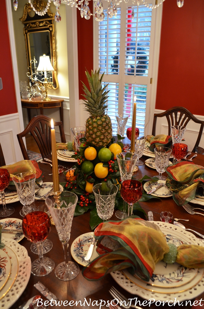 Christmas Table Setting with Lenox Winter Greetings and a Coloniial Willamsburg Apple, Lemon Tree Centerpiece