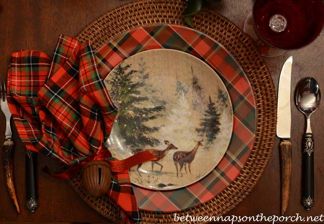 Christmas-Tablescape-with-Carson-Plaid-Dinner-Plates-and-Deer-Salad-Plates