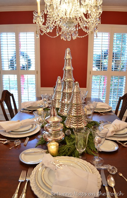 Christmas Tablescape with Mercury-glass Christmas Tree Centerpiece