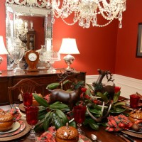 Christmas Tablescape with Plaid Dinner Plates and Deer Salad Plates a