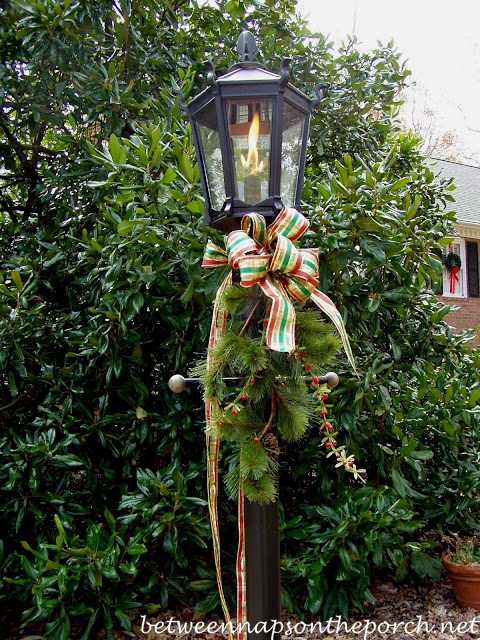 Gas Lantern Decorated for Christmas