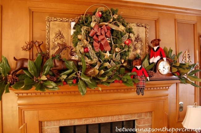 Hunt Themed Wreath Above Fireplace Mantel