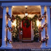 Porch decorated with Pottery Barn knock-off garland, 2010