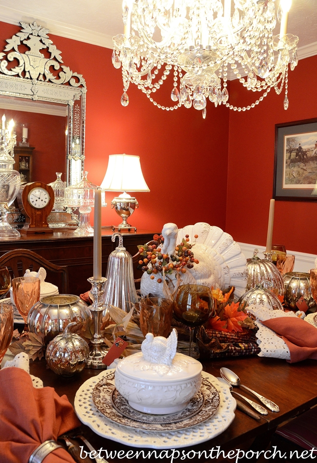 Thanksgiving Table Setting with Turkey Centerpiece and Turkey Tureens_wm