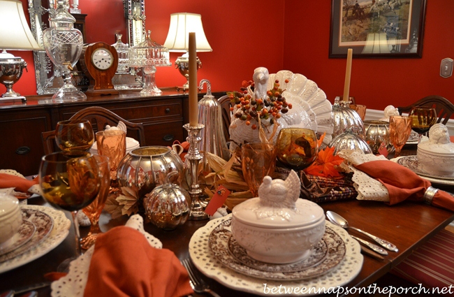 Thanksgiving Tablescape with Rustic Turkey Centerpiece and Turkey Tureens