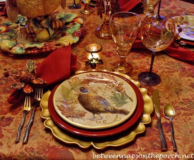 Thanksgiving Tablescape With Turkey Centerpiece And