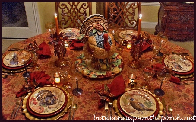 Thanksgiving Tablescape with Turkey Centerpiece and Pottery Barn Turkey Salad Plates 05_wm