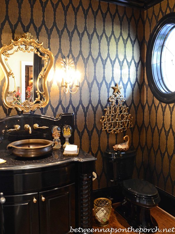 Black and Gold Powder Room