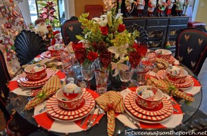 Peppermint and Candy Cane Themed Table Setting