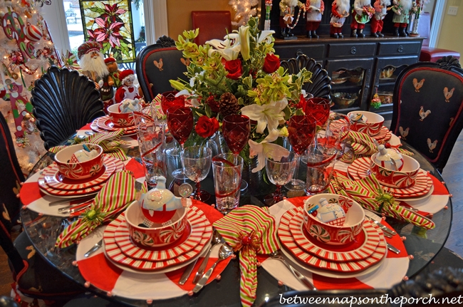 Peppermint and Candy Cane Themed Table