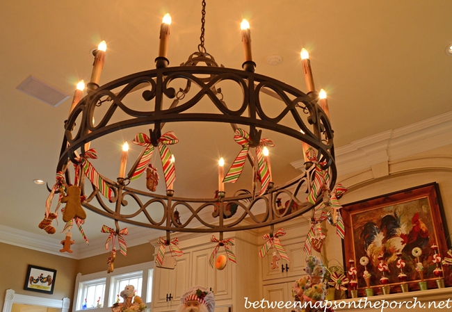 Kitchen Chandelier Decorated for Christmas
