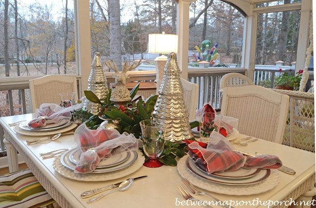 christmas tablescape with mercury glass christmas trees and deer head centerpiece - Mercury Glass Christmas Trees