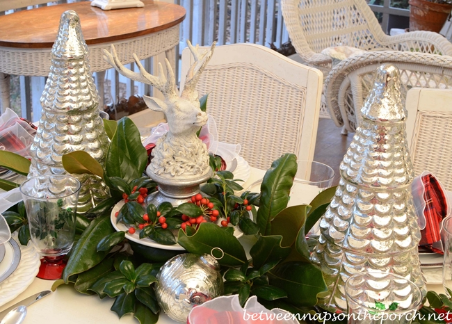 Christmas Tablescape with Magnolia and Holly and a Deer Head Centerpiece