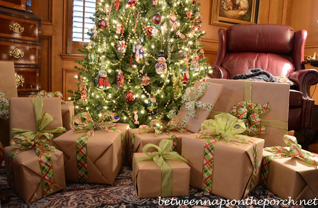 Christmas Presents Wrapped in Craft Paper and Colorful Ribbons